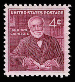 Andrew Carnegie image on a postage stamp